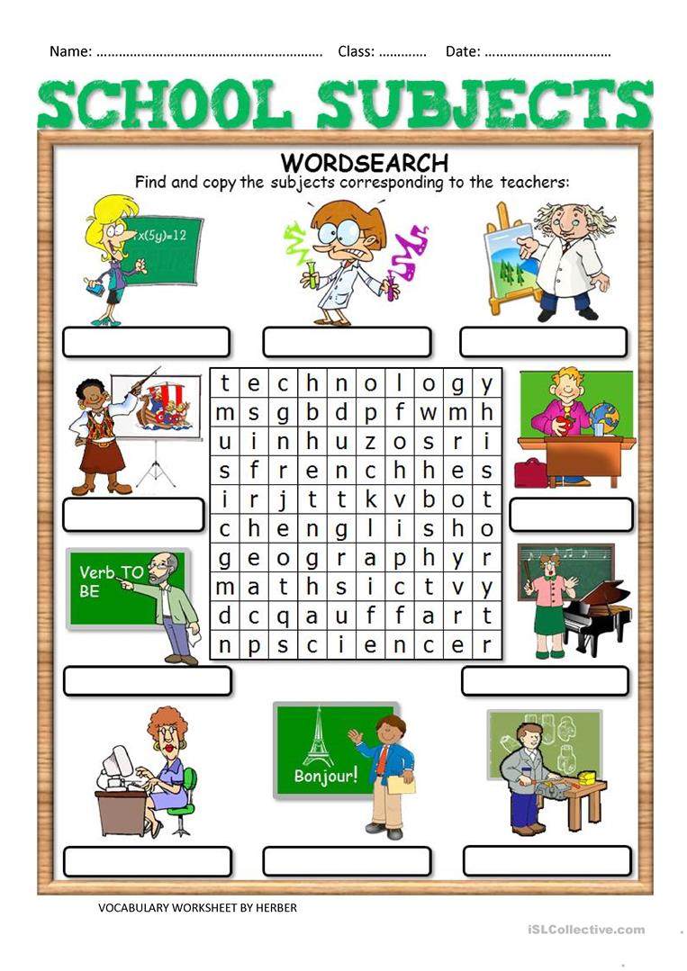 102 Free Esl School Subjects Worksheets