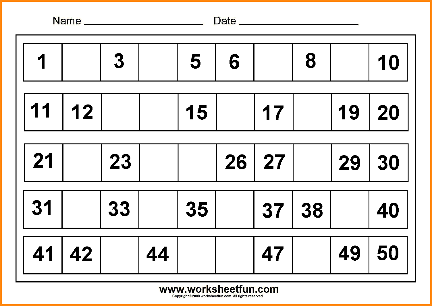 10+ Missing Numbers Worksheets