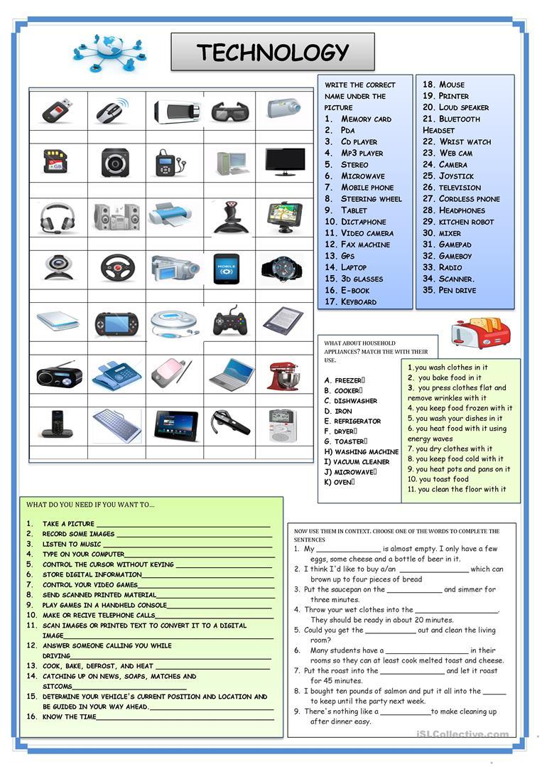 158 Free Esl Technology Worksheets