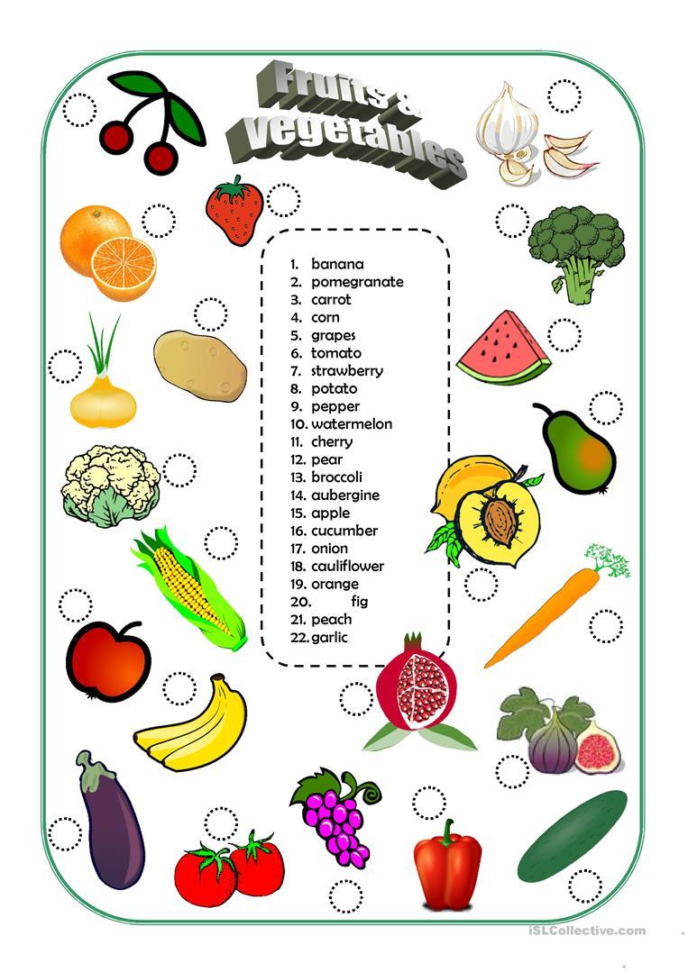 162 Free Esl Vegetables Worksheets