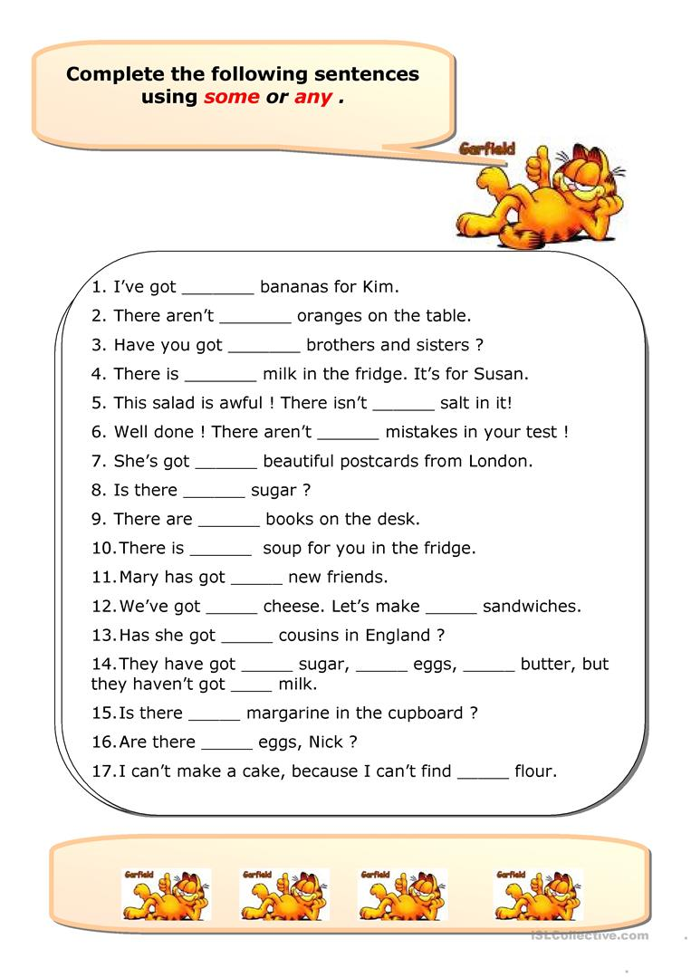 179 Free Esl A An Some Any Worksheets