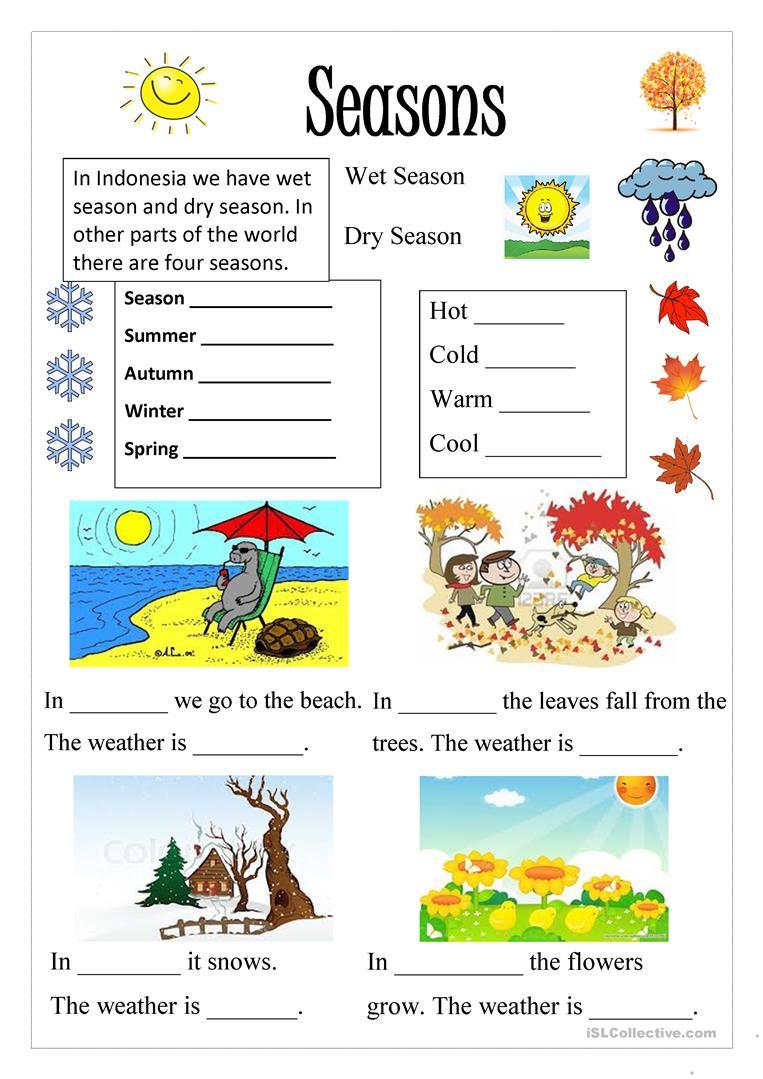 191 Free Esl Seasons Worksheets