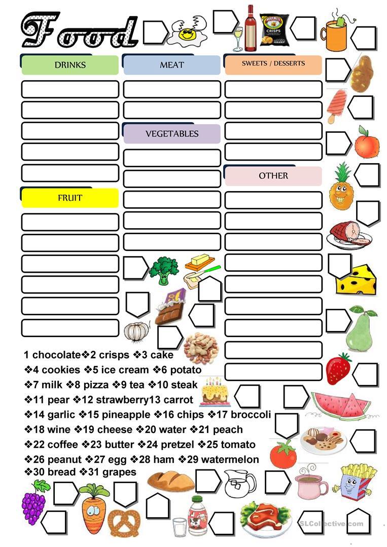 2048 Free Esl Food Worksheets
