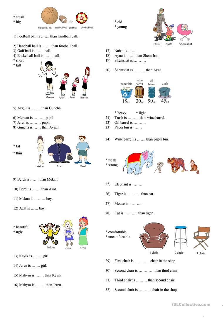 23 Free Esl Degrees Of Comparison Worksheets