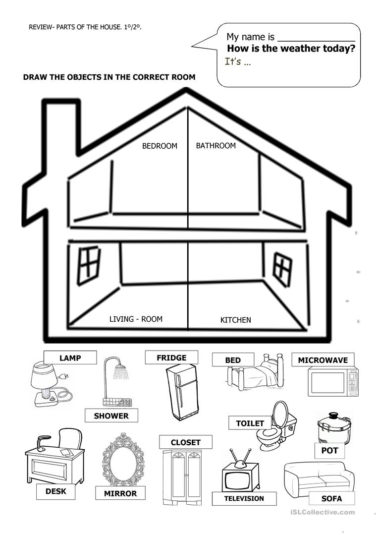 2 Free Esl House Furniture Home Parts Of The House Worksheets