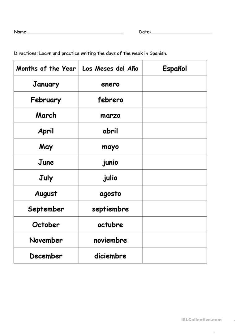 2 Free Esl Los Meses Del Año Worksheets