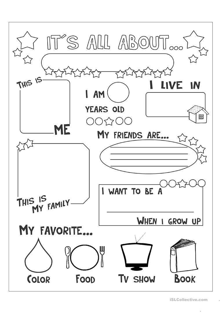 58 Free Esl All About Me Worksheets