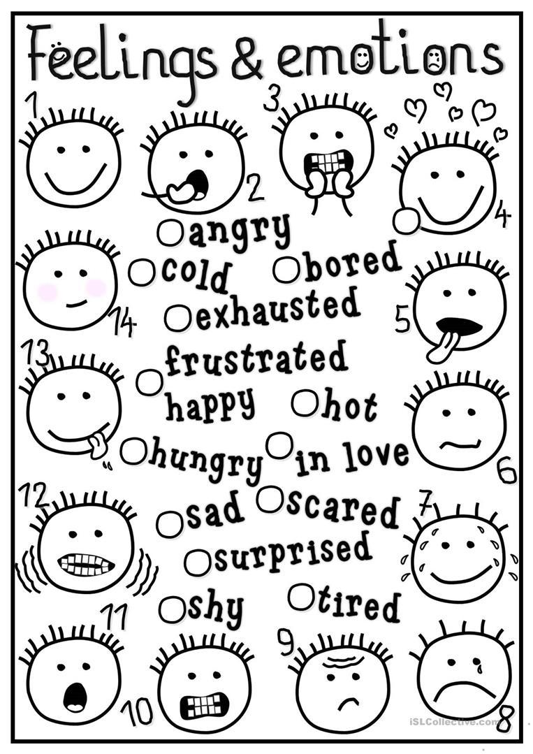 635 Free Esl Feelings, Emotions Worksheets