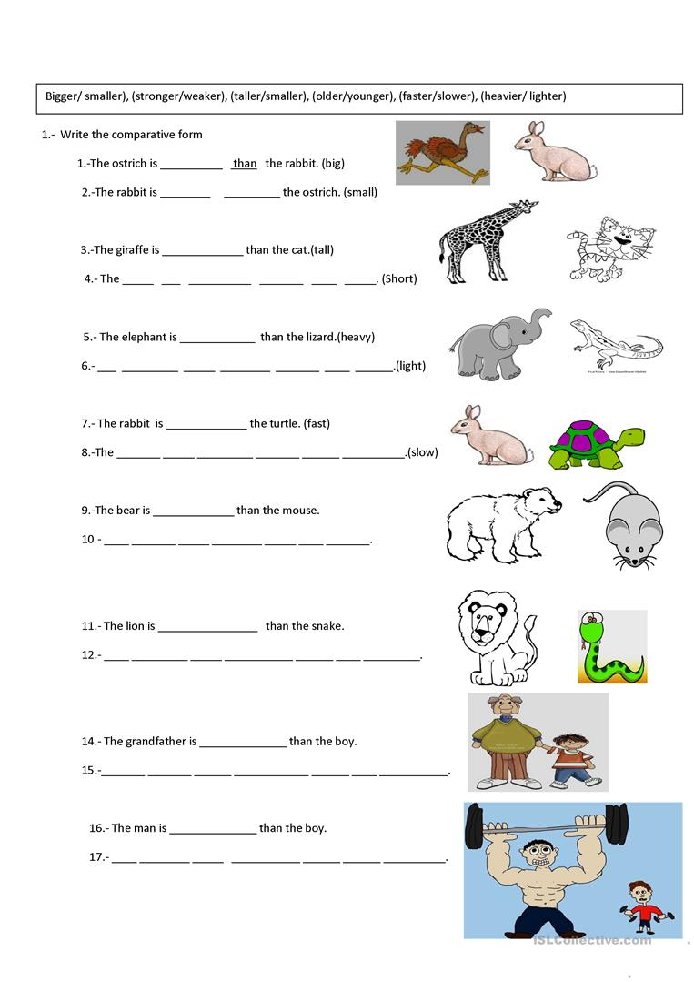 648 Free Esl Comparison (comparative And Superlative) Worksheets