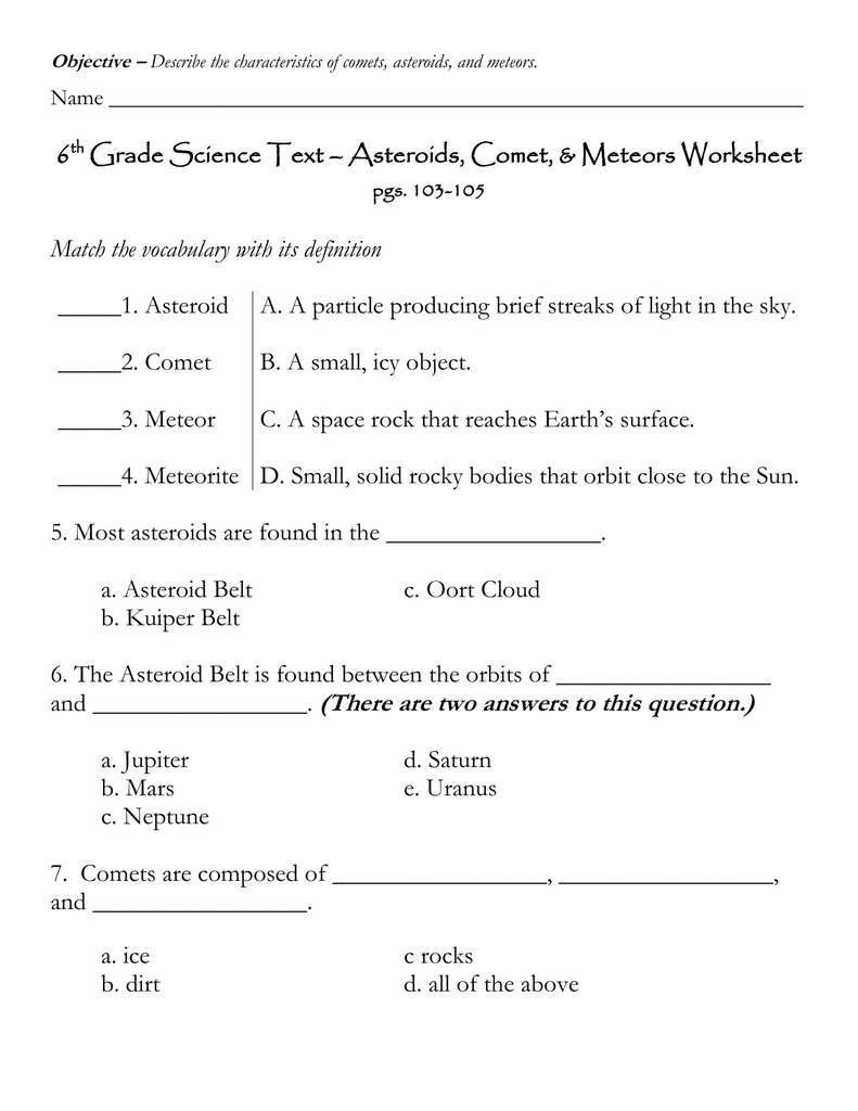 6 Grade Science Text – Asteroids, Comet, & Meteors Worksheet