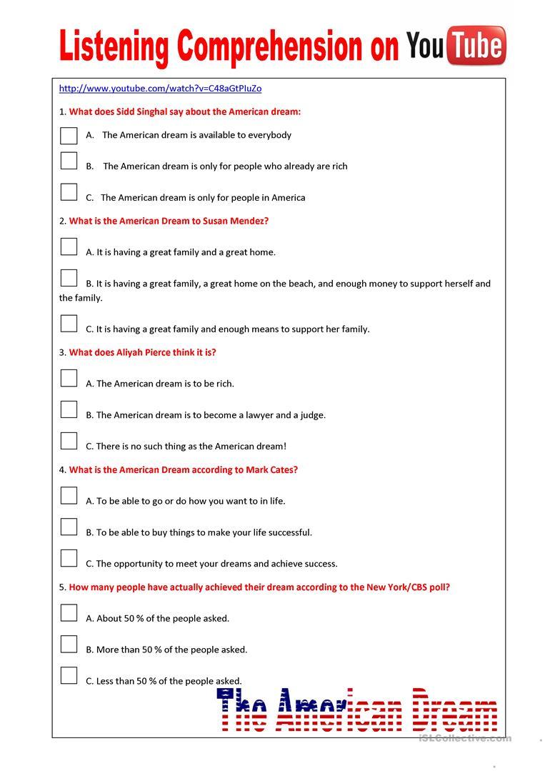 81 Free Esl Listening Comprehension Worksheets
