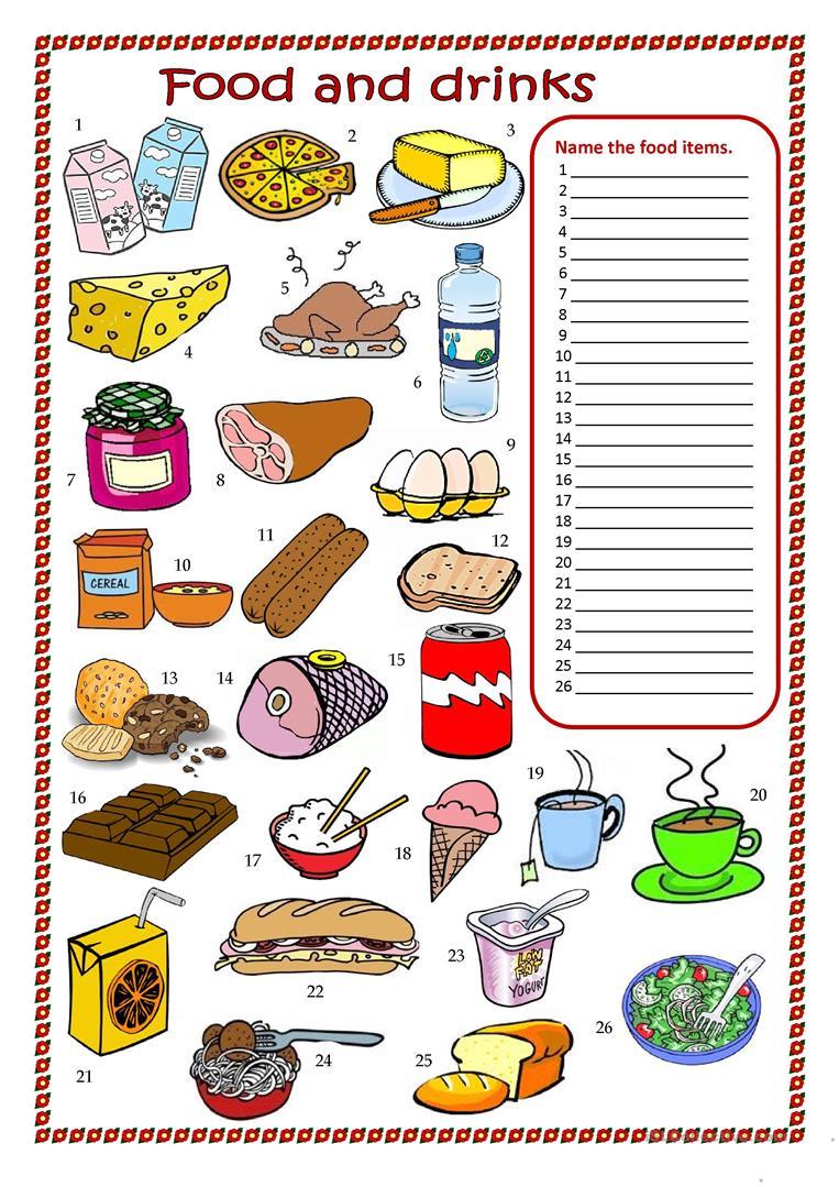 87 Free Esl Food And Drink Worksheets