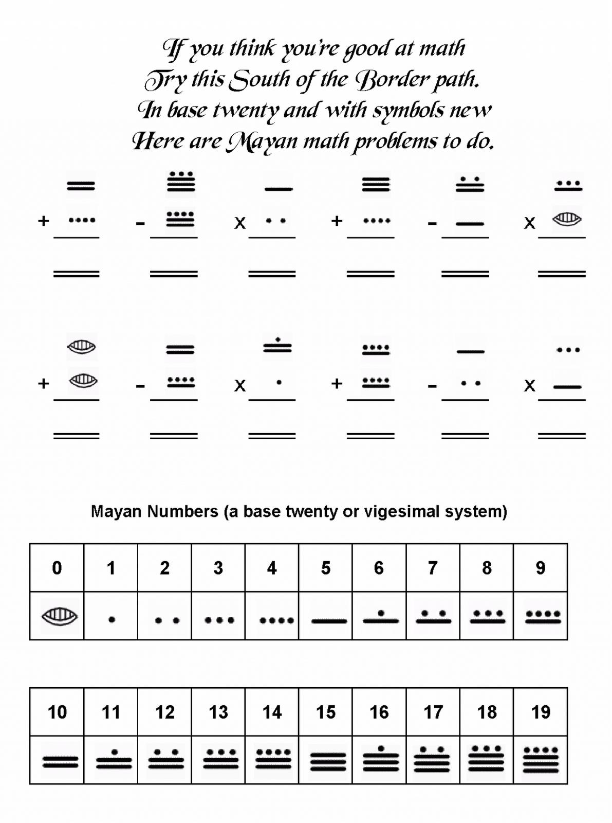 Beautiful Math Teaching The Mayan Worksheets Ks2 Worksheet Number