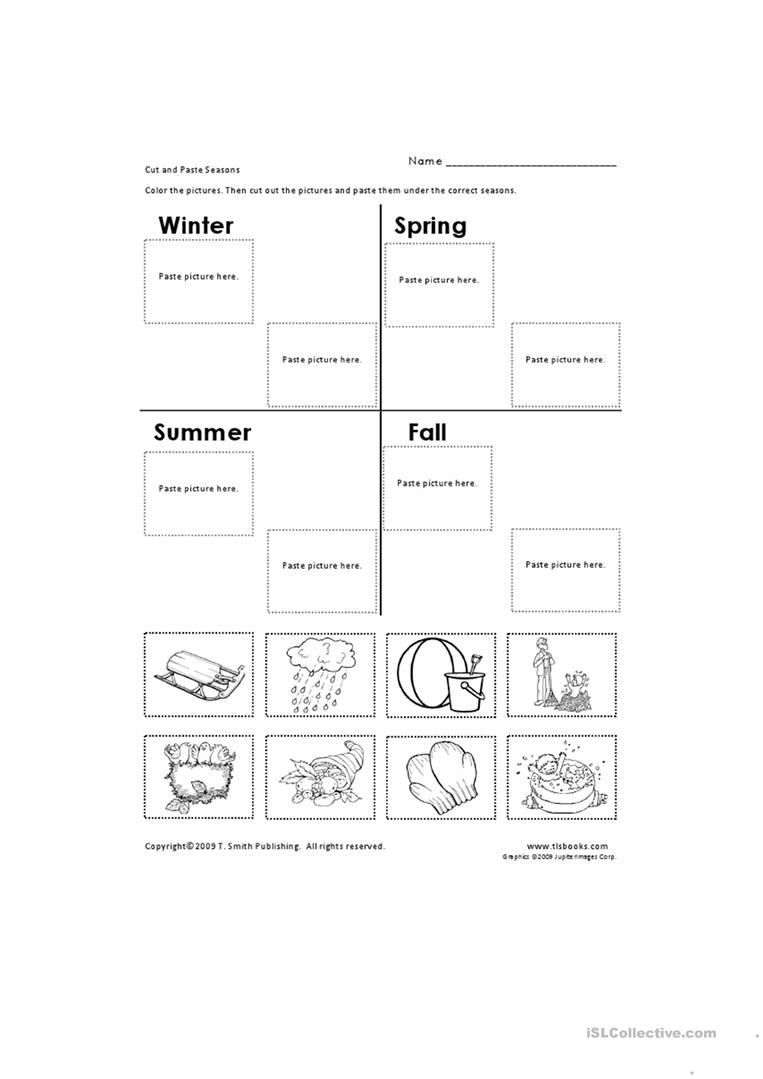 Cut And Paste Seasons Worksheet