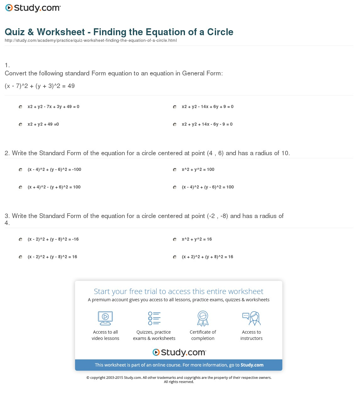 Equations Of Circles Worksheet Free Worksheets Library