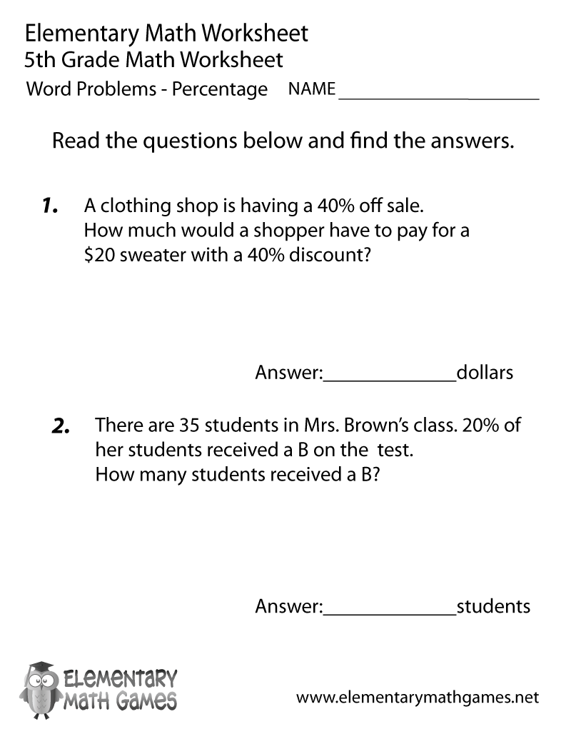 Fifth Grade Percentage Word Problems Worksheet