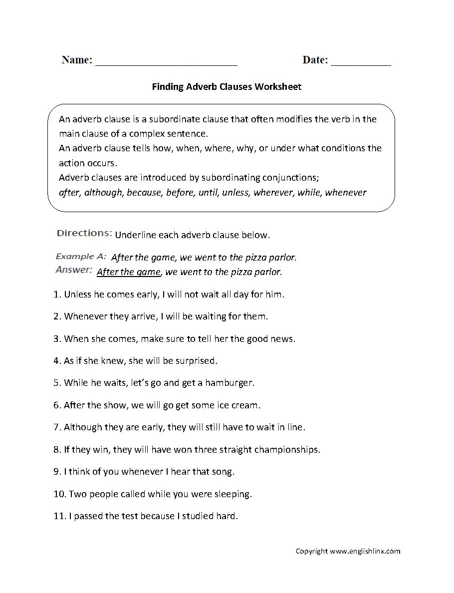 Finding Adverb Clauses Worksheet