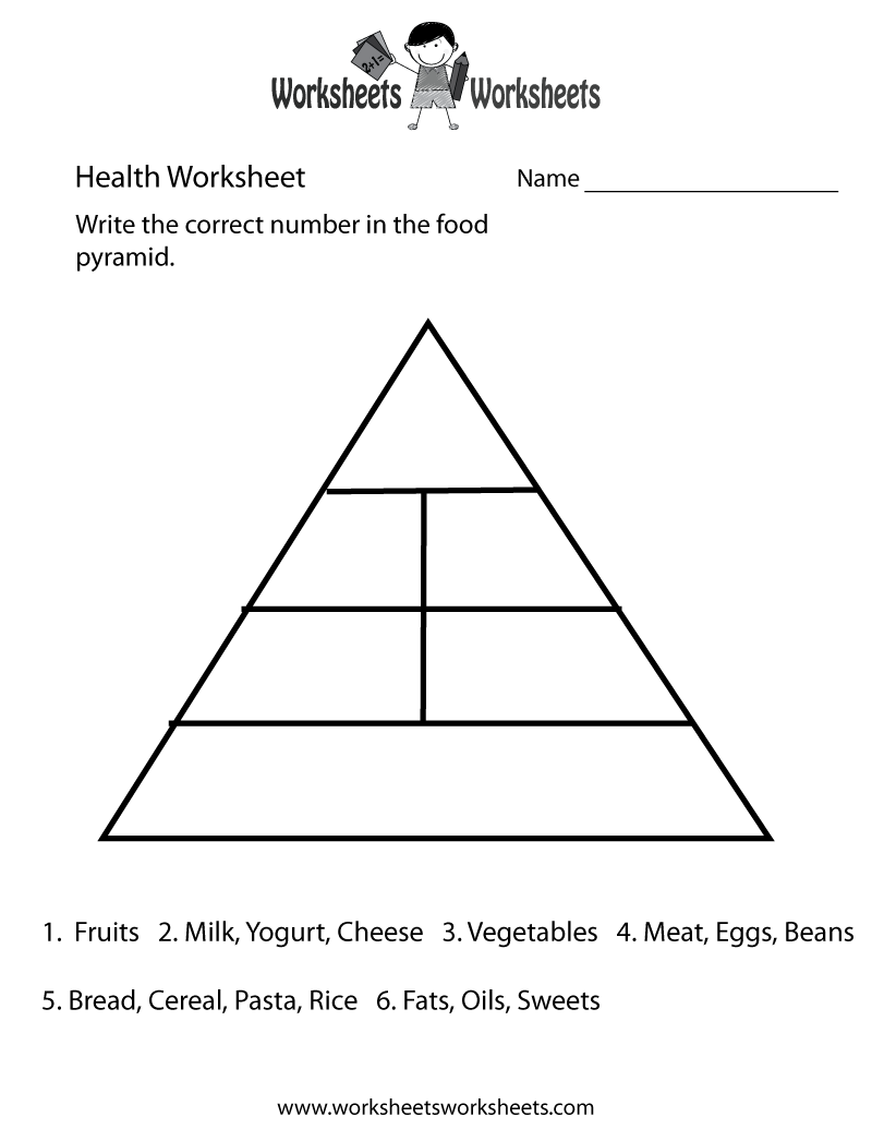 Food Pyramid Health Worksheet