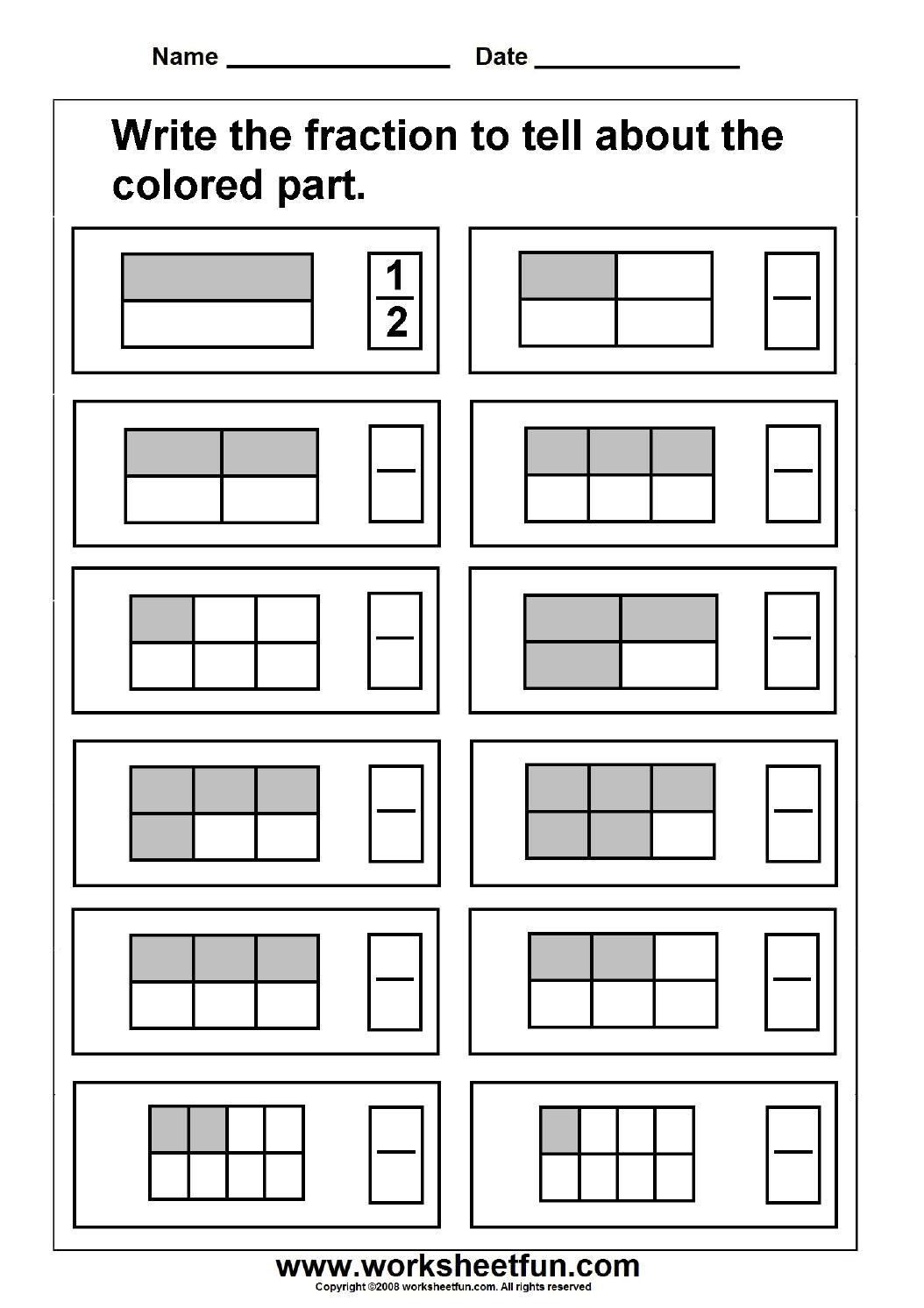 Fraction Model   Free Printable Worksheets – Worksheetfun