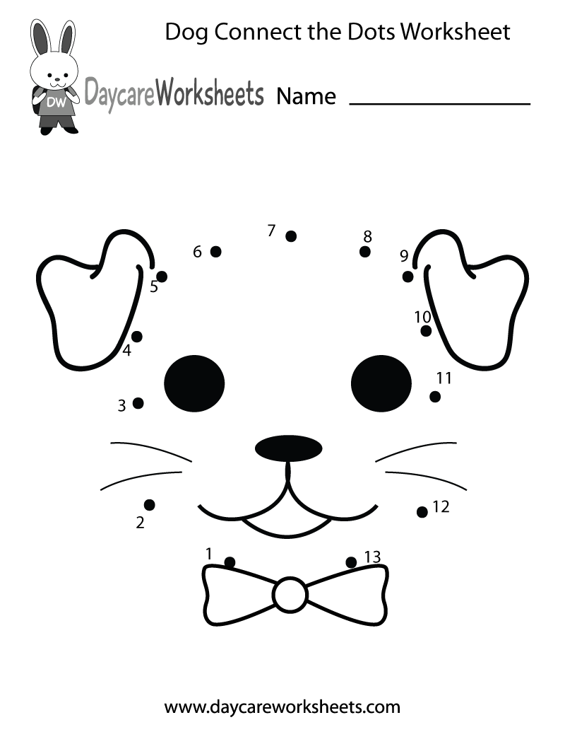 Free Preschool Dog Connect The Dots Worksheet