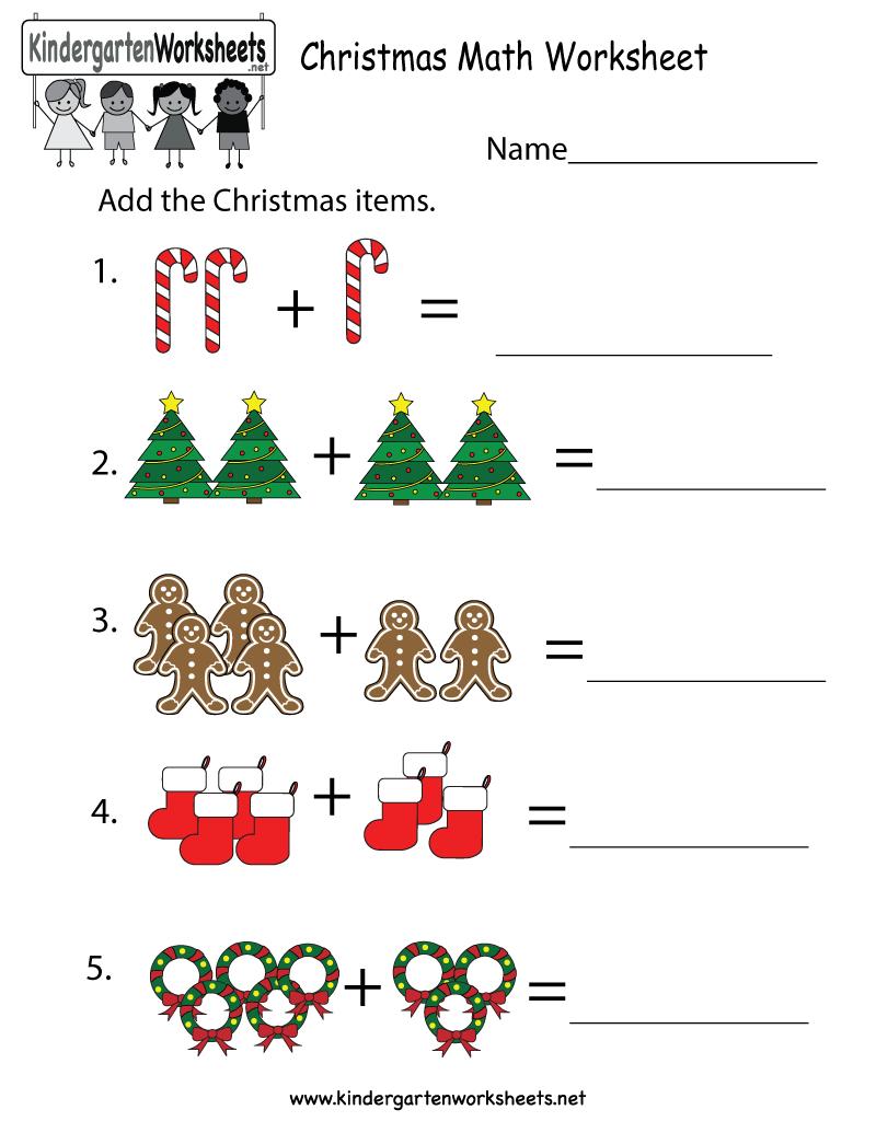 Free Printable Christmas Math Worksheet For Kindergarten Maths