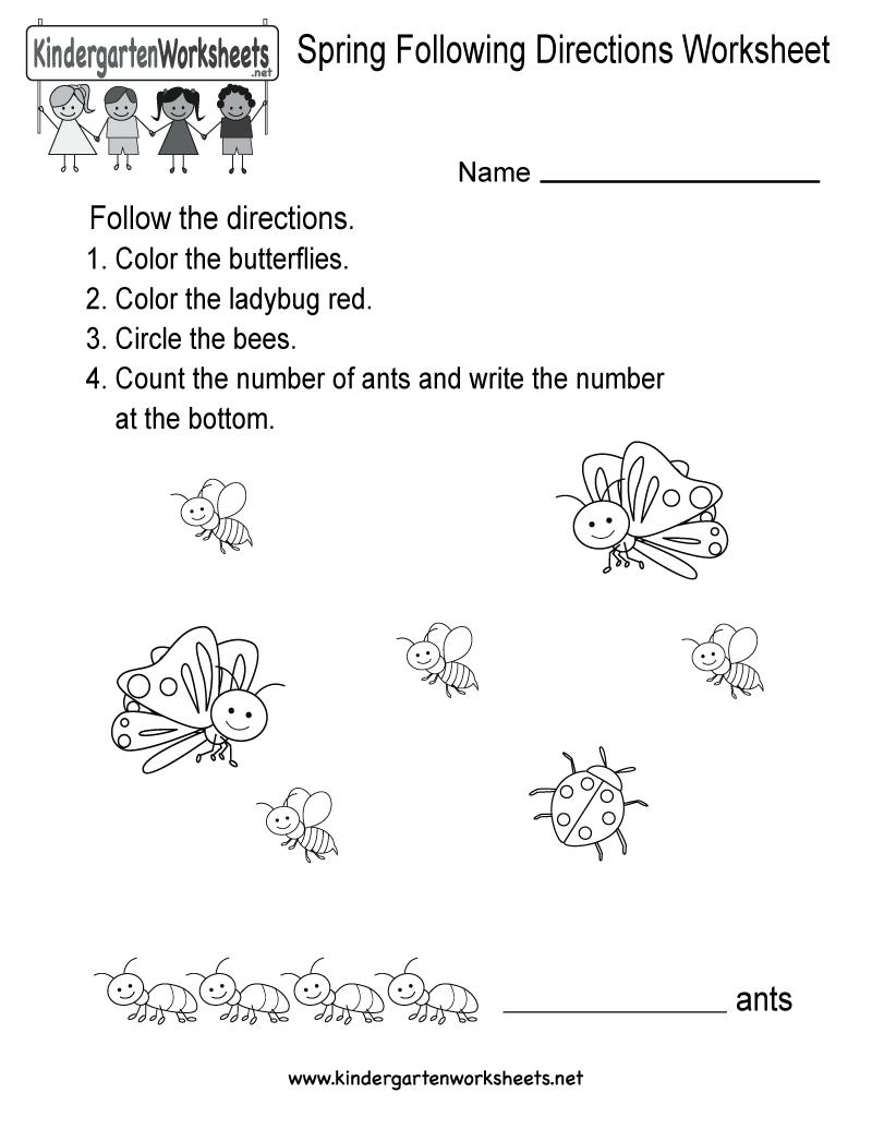 Free Printable Spring Following Directions Worksheet For Kindergarten
