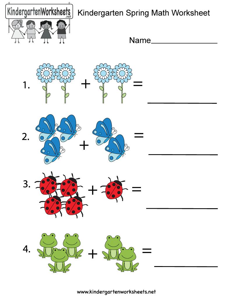 Free Printable Spring Math Worksheet For Kindergarten