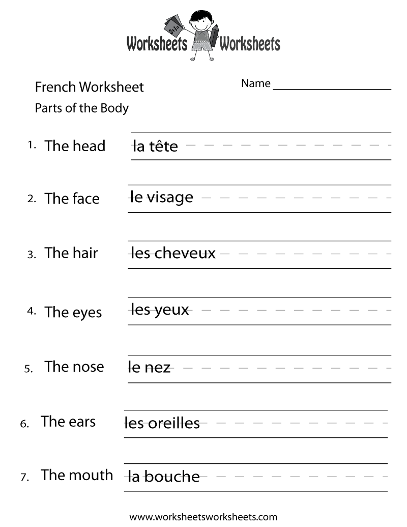 French Body Parts Worksheet