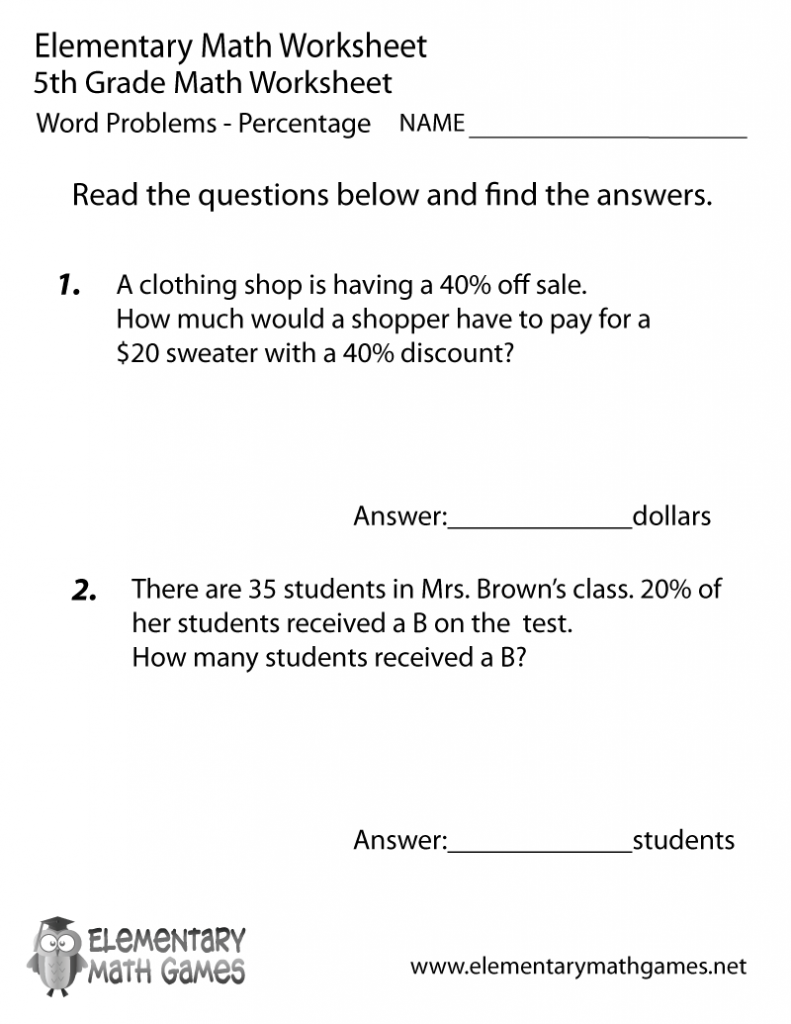 Grade Fifth Grade Percentage Word Problems Worksheet Math