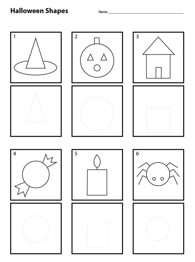 Halloween Shapes For Pre K Art Projects Kids Worksheets