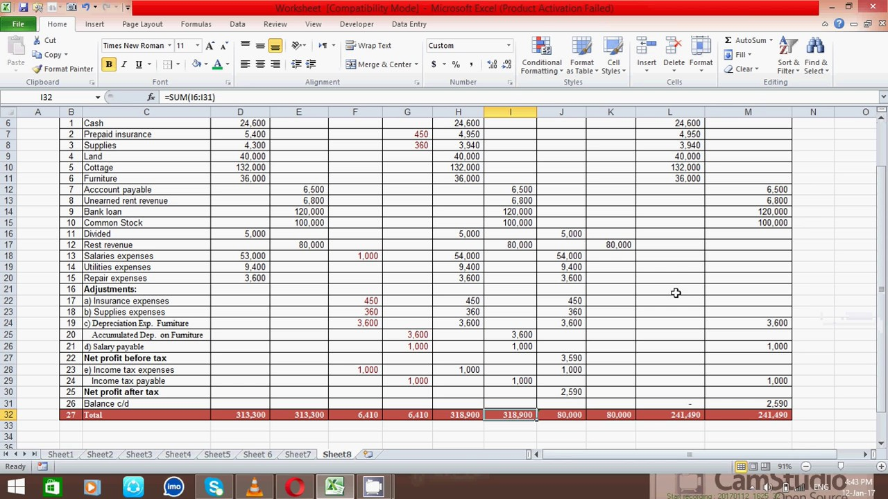How To Prepare Ten Column Worksheet In Excel Spread Sheet (samir