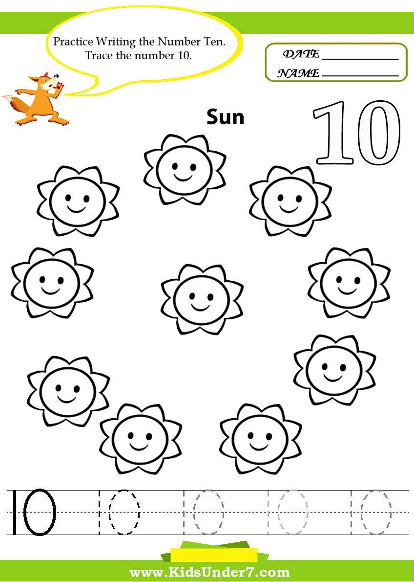 Kids Under 7  Number Tracing