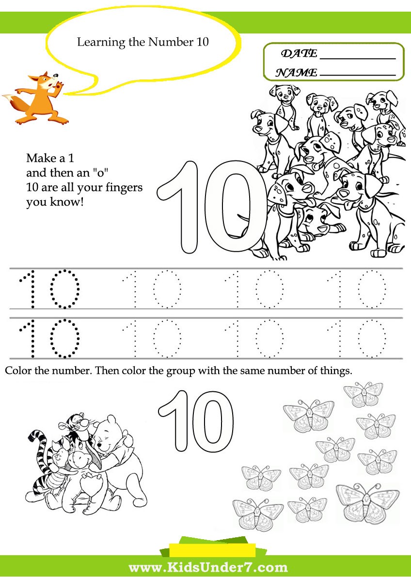 Kids Under 7 Free Printable Kindergarten Number Worksheets 10 20