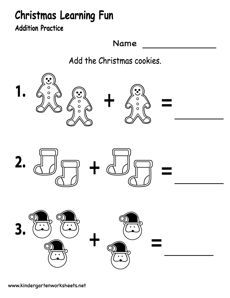 Kindergarten Christmas Cookies Worksheet Printable