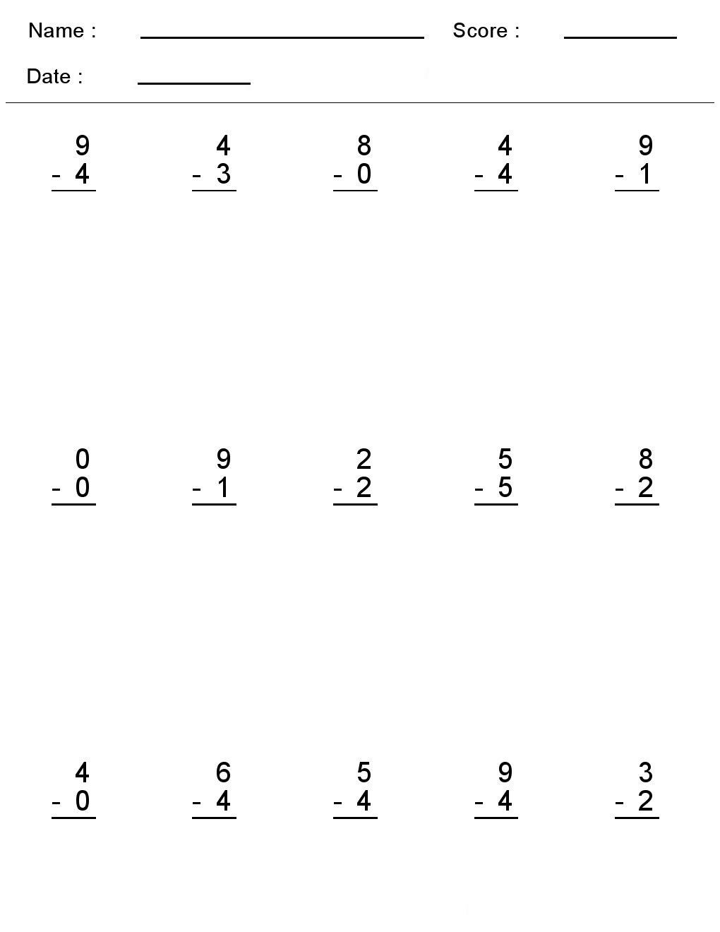 Kindergarten Worksheets Maths Subtraction Single Digit Addition