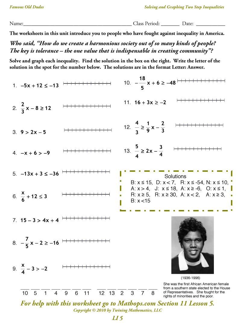 Solving Inequalities Worksheets