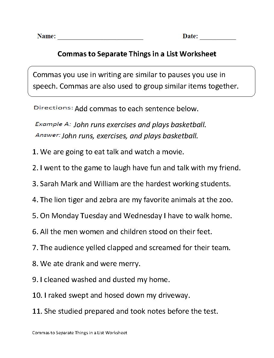 Middle School Dialogue Worksheets