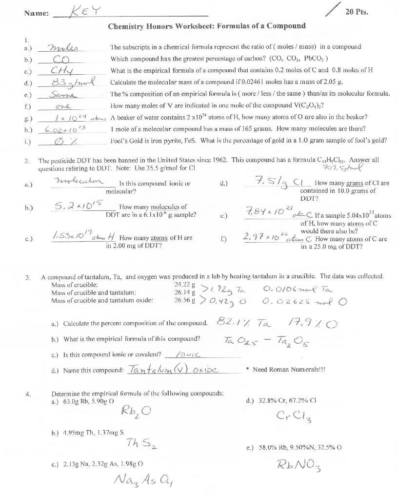 Empirical Formula Worksheets Answer Key