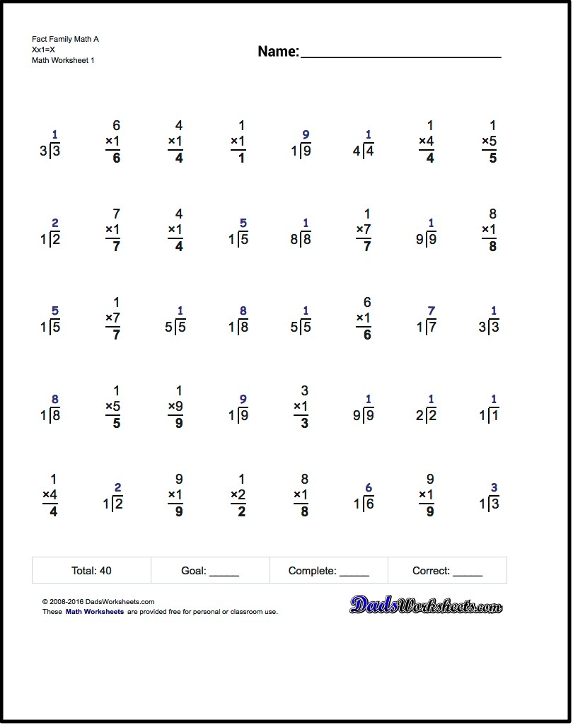 One Minute Multiplicationdivision These 40 Problem Multiplication