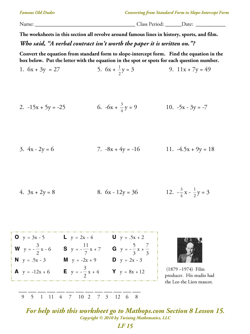 Point Slope Worksheets Free Worksheets Library