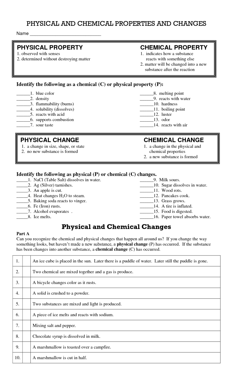 Proficiency Worksheet Physical And Chemical Changes Chemical And