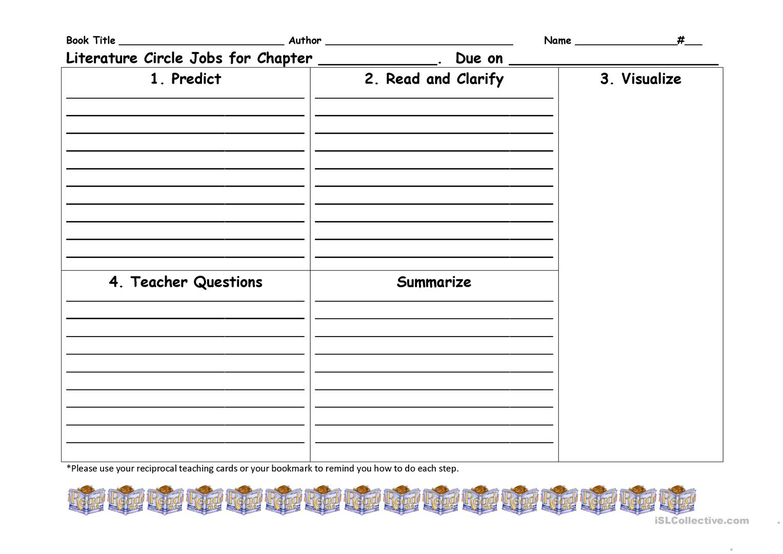 Reciprocal Teaching Literature Circle Worksheet Worksheet