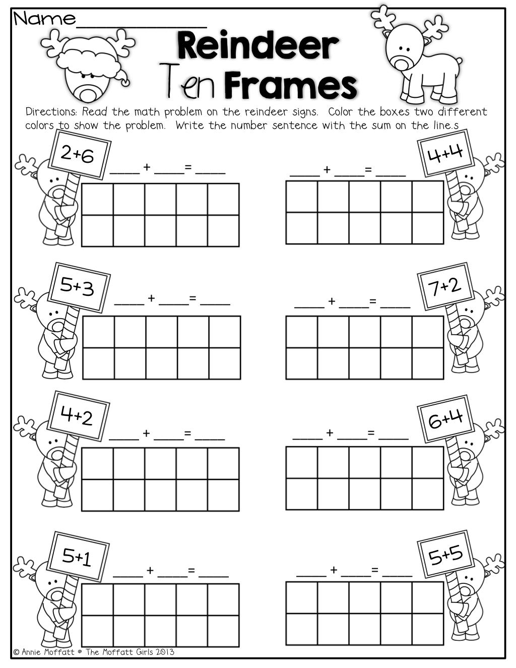 Reindeer Ten Frames! Simple Math Problems With Ten Frames