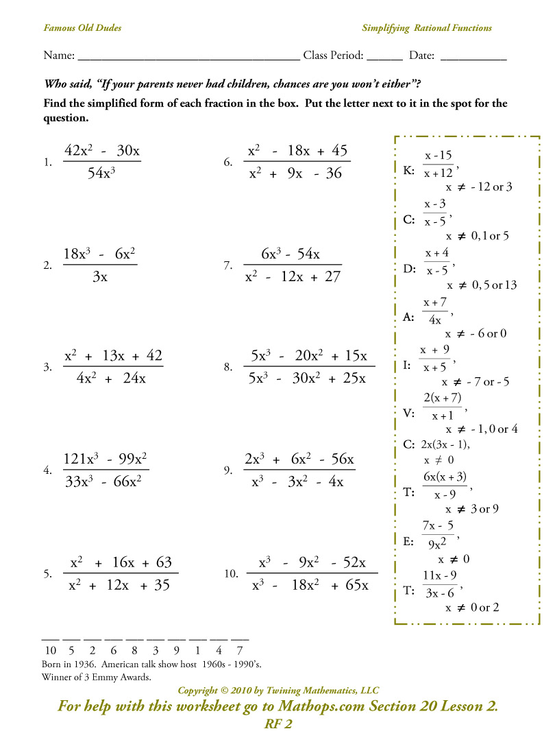 Rf 2  Simplifying Rational Functions
