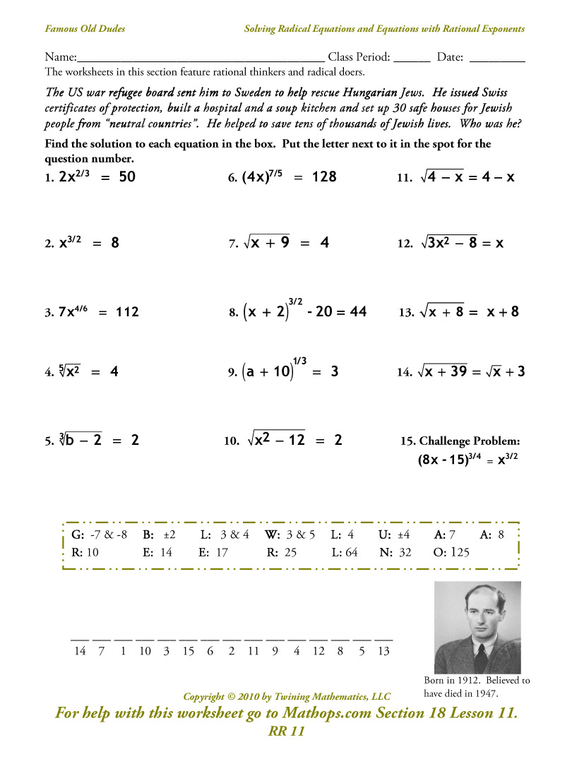 Rr 11  Solving Radical Equations And Equations With Rational