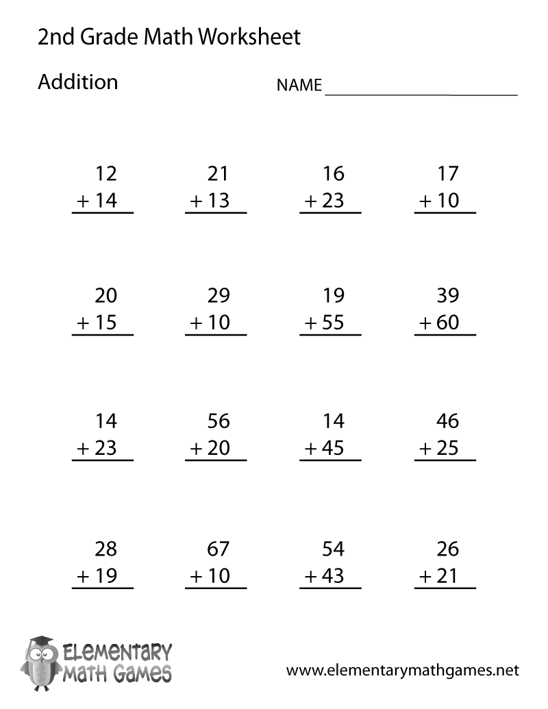 Second Grade Addition Worksheet