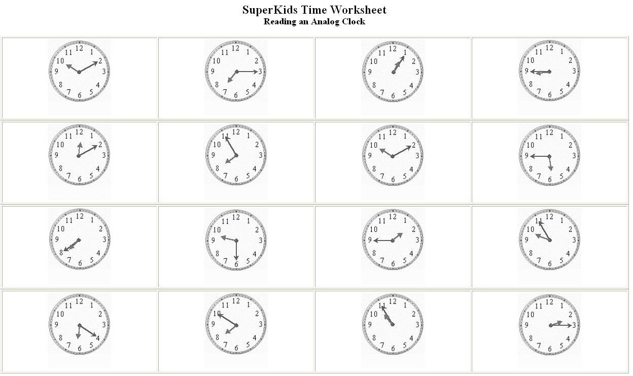Spanish Time Worksheets Worksheets