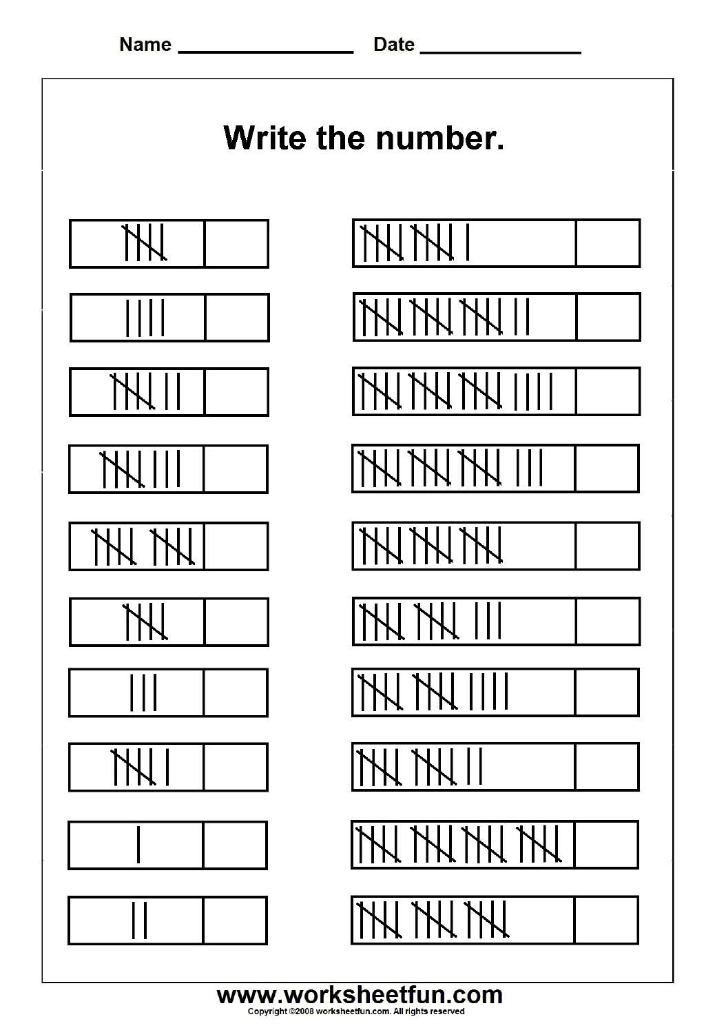 Tally Marks – 1 Worksheet   Worksheets