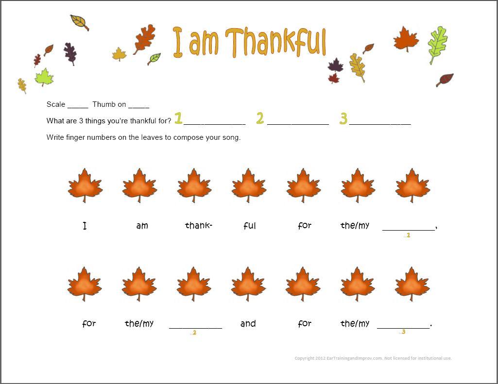 Thanksgiving Music Worksheets
