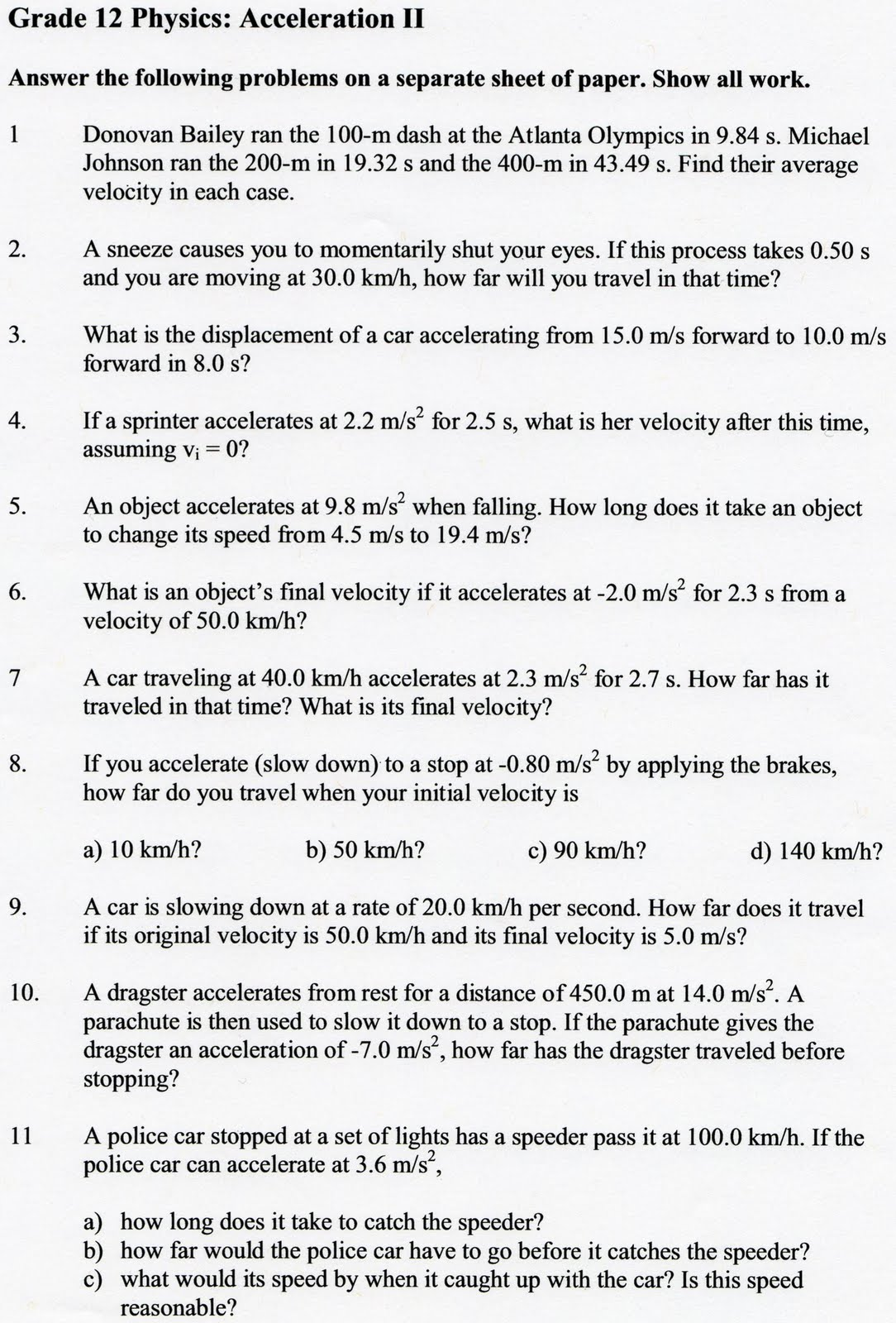Velocity And Acceleration Calculation Worksheet Answers
